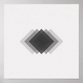 Poster Affiche noire et blanche de diamants minimalistes