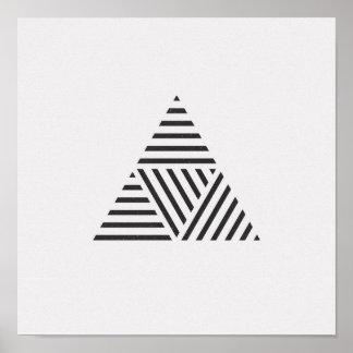 Poster Affiche noire et blanche de triangle rayée