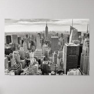 Poster Affiche noire et blanche d'horizon de New York