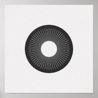 Poster Affiche noire et blanche d'iris minimaliste de