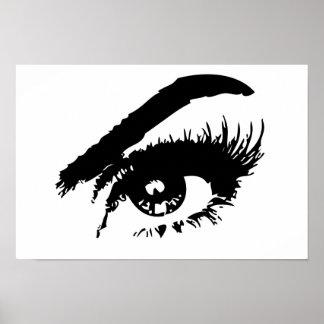 Poster Affiche noire et blanche d'oeil