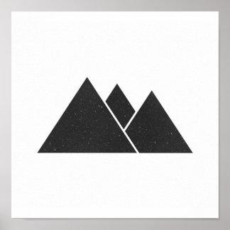Poster Affiche noire et blanche minimaliste de triangles