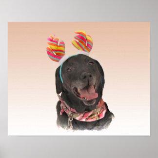 Poster Affiche noire heureuse de chien de labrador