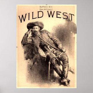 Poster Affiche occidentale sauvage de Buffalo Bill