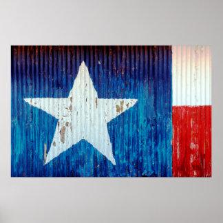 Poster Affiche ondulée de drapeau du Texas en métal