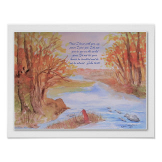 Poster Affiche originale d'aquarelle de chute avec