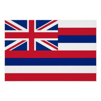Poster Affiche patriotique de mur avec le drapeau d'Hawaï