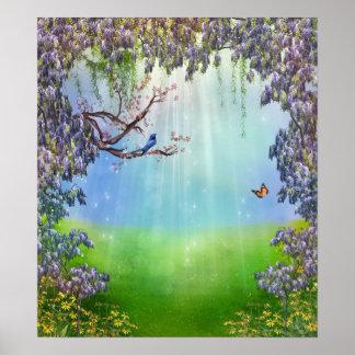 Poster Affiche pourpre de printemps de glycines