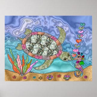 Poster Affiche psychédélique d'art d'hippocampe de tortue