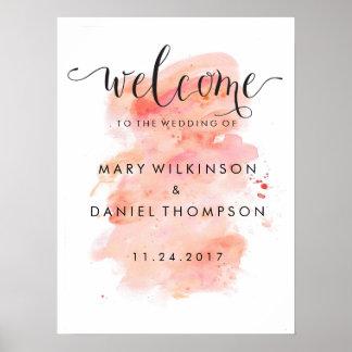 Poster Affiche rose d'accueil de mariage d'aquarelle