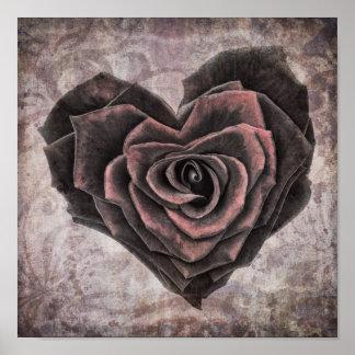 Poster affiche rose de coeur de goth