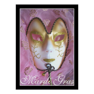 Poster Affiche rose de mardi gras