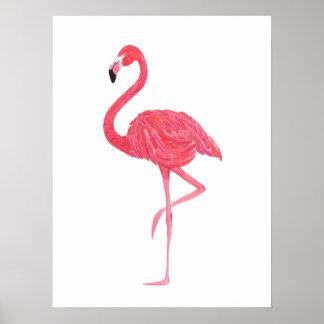 Poster Affiche rose d'impression de flamant d'aquarelle