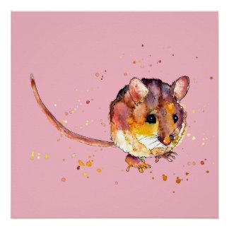 Poster affiche rose souris handgemalter