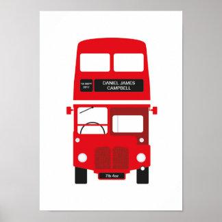 Poster Affiche rouge d'autobus de Londres personnalisée