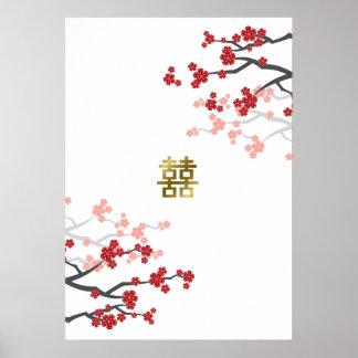 Poster Affiche rouge de bonheur de double d'or de fleurs