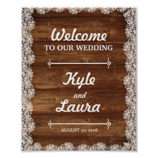 Poster Affiche rustique de mariage de dentelle et en bois