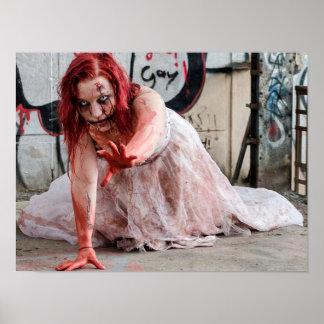 Poster Affiche sanglante de fille d'apocalypse de zombi