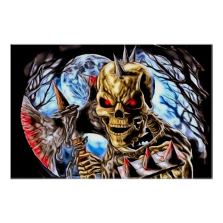 Poster Affiche squelettique sanglante