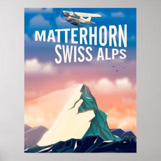 Poster Affiche suisse de voyage de Matterhorn d'Alpes