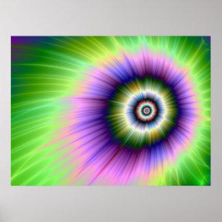 Poster Affiche teinte nouée d'explosion de couleur