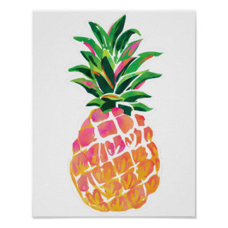 """Poster Affiche tropicale gaie d'ananas - 11"""" x 14"""""""