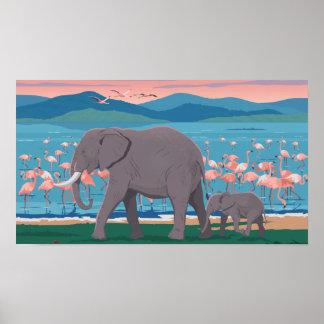 Poster Affiche vibrante d'éléphant