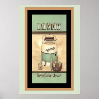 Poster Affiche vintage d'annonce de Lavage-o-Matic mignon