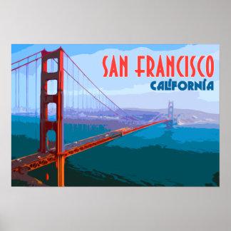Poster Affiche vintage d'art de voyage de San Francisco