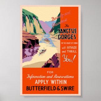 Poster Affiche vintage de classique de voyage de Chin de