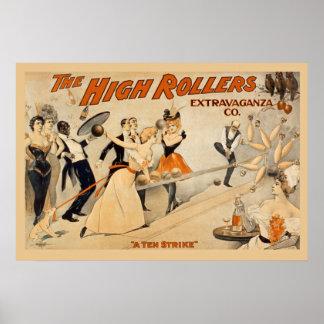 Poster Affiche vintage de flambeurs