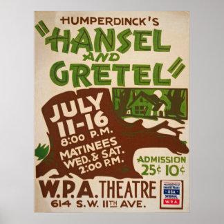 Poster Affiche vintage de Hansel et de Gretel