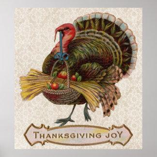 Poster affiche vintage de joie de thanksgiving de dinde