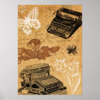 Poster Affiche vintage de machine à écrire