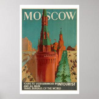 Poster Affiche vintage de Moscou Intourist