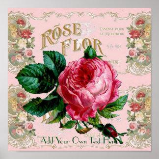 Poster Affiche vintage de rose de rose de Paris que vous