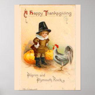 Poster Affiche vintage de thanksgiving
