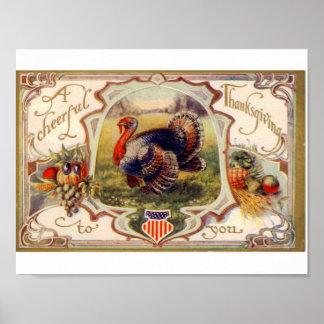 Poster Affiche vintage de thanksgiving -- La Turquie