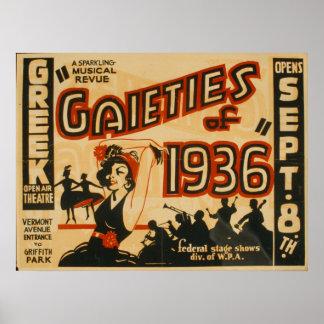 Poster Affiche vintage de théâtre de joies