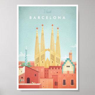 Poster Affiche vintage de voyage de Barcelone