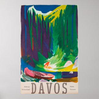 Poster Affiche vintage de voyage de Davos Suisse