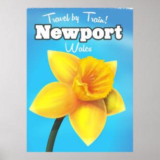 Poster Affiche vintage de voyage de jonquille de Newport