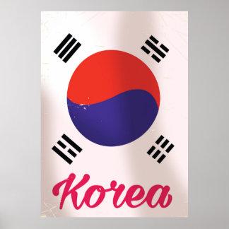 Poster Affiche vintage de voyage de la Corée du Sud
