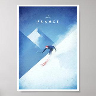 Poster Affiche vintage de voyage de la France de ski