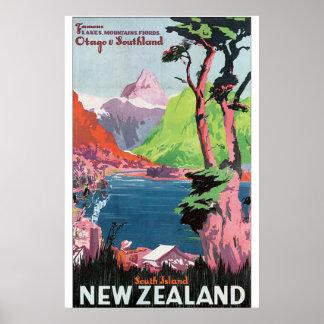 Poster Affiche vintage de voyage de la Nouvelle Zélande