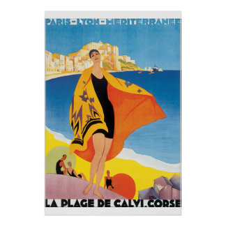Poster Affiche vintage de voyage de la plage De Calvi