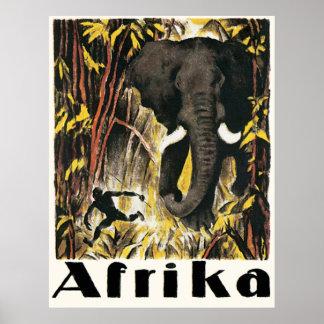 Poster Affiche vintage de voyage de l'Afrique