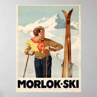 Poster Affiche vintage de voyage de l'Autriche de ski de