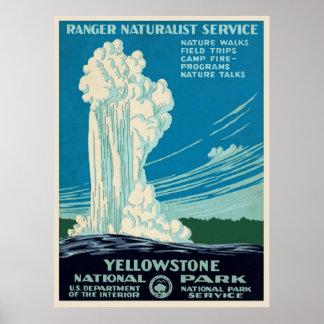 Poster Affiche vintage de voyage de parc de Yellowstone