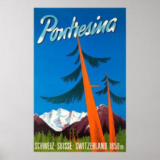 Poster Affiche vintage de voyage de Pontresina Suisse